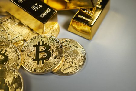 Bitcoins  and golden background