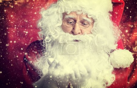 Photo for Santa Claus drinking tea Closeup Portrait Isolated on red Background - Royalty Free Image