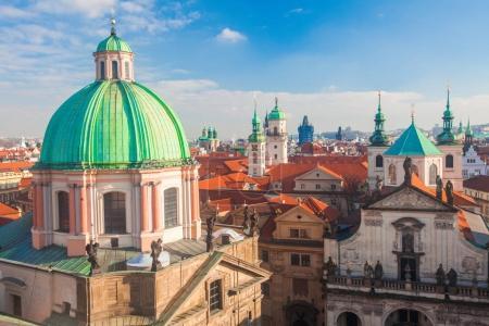 Aerial view of architecture in Prague, Czech Republic