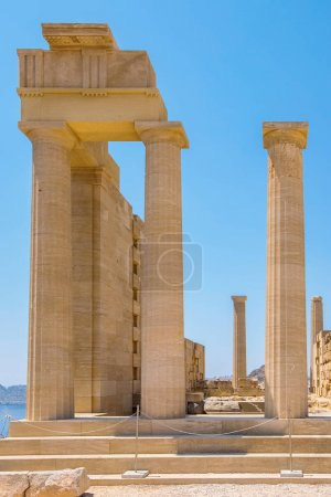 Photo for Temple of Athena Lindia in the Acropolis. Lindos, Rhodes, Dodecanese Islands, Greece - Royalty Free Image