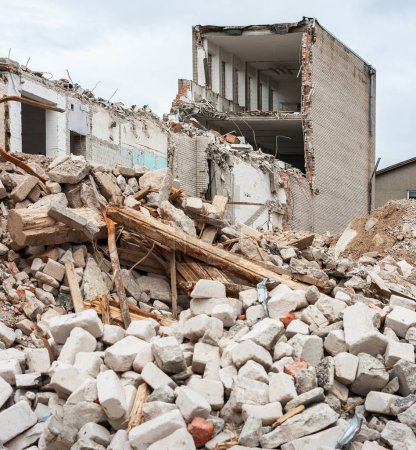 Photo for Pile of rubble and demolished building - Royalty Free Image