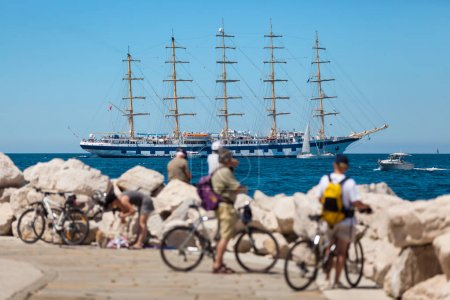 The world's largest sailing ship with five masts anchored in the the open sea near old city Piran, Slovenia.