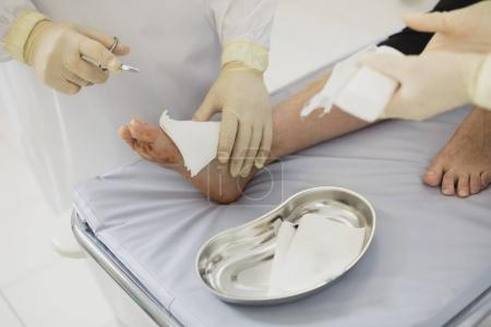 disinfection of medical scar after surgery, lose up of Medical Operation