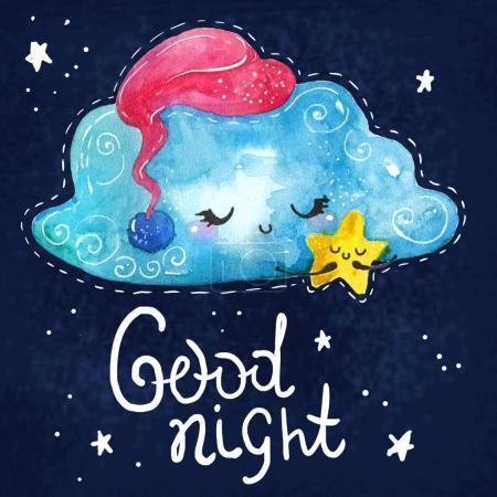 Photo pour Dessin animé scène de nuit avec nuage mignon et étoile, illustration colorée - image libre de droit