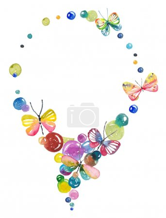 Photo pour Fond incroyable avec des papillons et des bulles peintes à l'aquarelle - image libre de droit