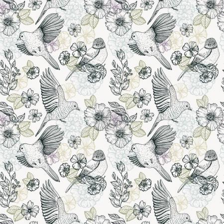Foto de Patrón con pájaros y flores, dibujos, dibujo a tinta, Ilustración de dibujado a mano - Imagen libre de derechos