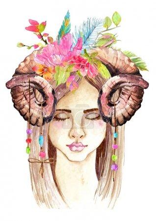 Photo pour Portrait de belle jeune femme avec beau visage et couronne de fleurs et cornes. Boho Art à l'aquarelle élégant. Illustration dessinée main - image libre de droit
