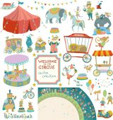Vintage circus collection of elements