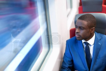 Traveling businessman in a train