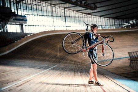 Sportsman on velodrome