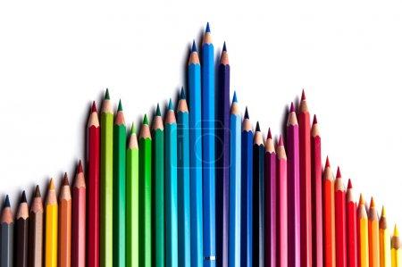 Photo pour Ensemble de crayons en bois aquarelle de couleur, palette professionnelle - image libre de droit