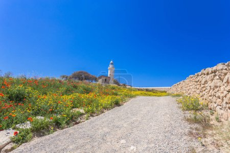 Photo for Beautiful historic Retro Lighthouse at Paphos, Cyprus - Royalty Free Image