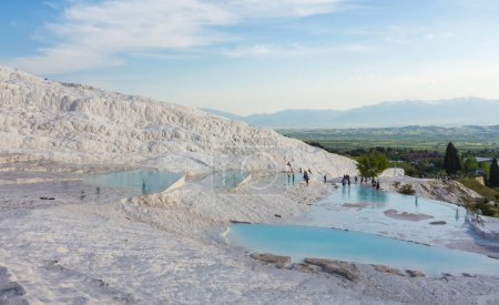 Natural travertine pools and terraces