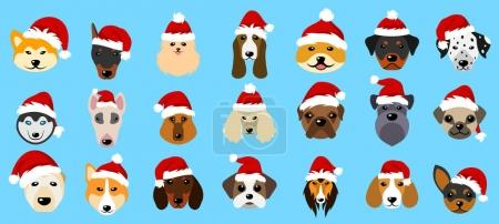 Set Different Breeds of Dogs in Hats of Santa Claus, Symbols New Year 2018
