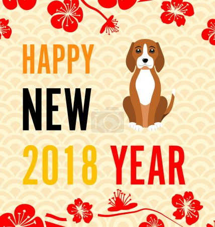 Happy Chinese new year 2018 card with Gold Dog abstract on red background Chinese word mean dog