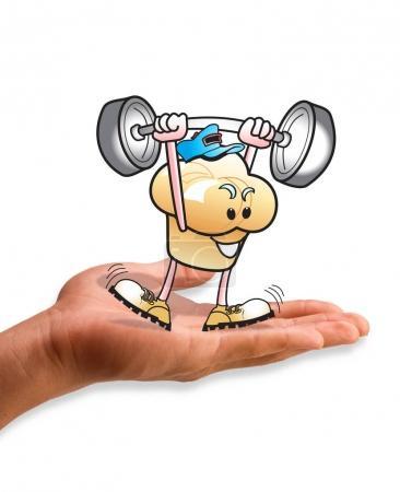 Photo pour Muffin Man, soulever des poids dans la paume de la main. - image libre de droit