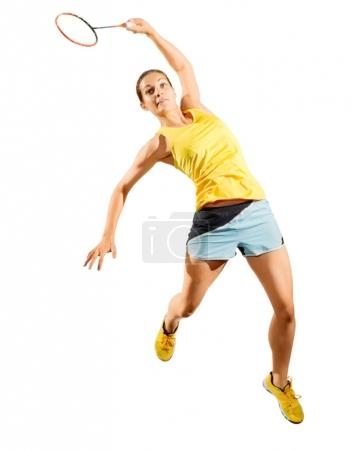 Photo pour Jeune joueuse de badminton isolée - image libre de droit