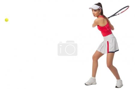 Woman tennis player isolated (with ball version)