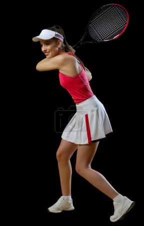 Photo pour Joueuse de tennis jeune femme isolée (ver sans ballon) - image libre de droit