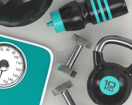 Photo pour 3d rendu des haltères, balance, kettlebell et shaker gymnase sur tapis de fitness - image libre de droit