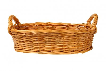 Photo for Empty wicker basket on white background - Royalty Free Image