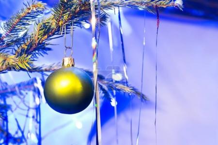 Green holiday ball on christmas tree branch