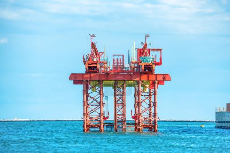 Oil drilling platform offshore in sea
