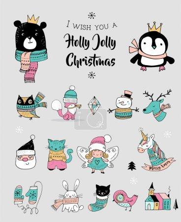 Photo pour Noël dessiné à la main mignons gribouillis, autocollants, illustrations. Pingouin, ours, chat et Père Noël - image libre de droit