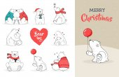 Merry Christmas greetings with bears Hand drawn polar bear cute bear set mother and baby bears couple of bears