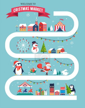 Christmas village map, winter town, Christmas market, Xmas fair, Christmas poster. Merry Christmas background