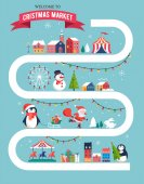 Christmas village map winter town Christmas market Xmas fair Christmas poster Merry Christmas background