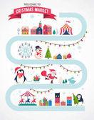 Christmas village map winter town Christmas market Xmas fair Christmas poster Merry Christmas background