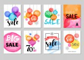 Sale icons tags labels and mobile theme Christmas sale colorful watercolor vector backgrounds poster design