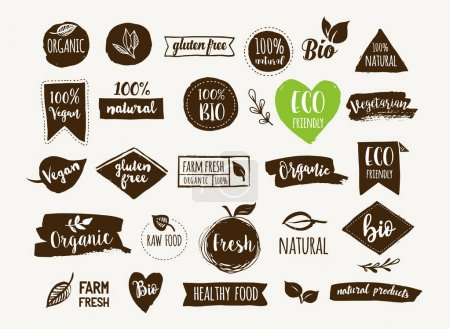 Illustration for Bio, Ecology, Organic logos and icons, labels, tags. Hand drawn bio healthy food badges, set of raw, vegan, healthy food signs, organic and elements set - Royalty Free Image