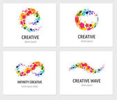 Creative digital abstract colorful icons elements and symbols logo collection template with letters