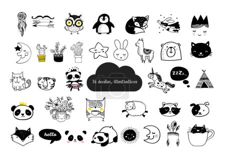 Illustration for Scandinavian style, simple design, clean and cute black, white illustrations, collection of children doodles, sketches - Royalty Free Image