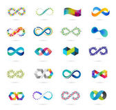 Colorful abstract infinity endless symbols and icon collection