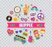Hippie bohemian poster card design with stickers pins art fashion chic patches pins badges and icons