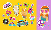 Hippie bohemian stickers pins art fashion chic patches pins badges and icons