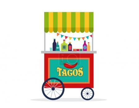 Mexican street food cart, flyer, poster, banner and background