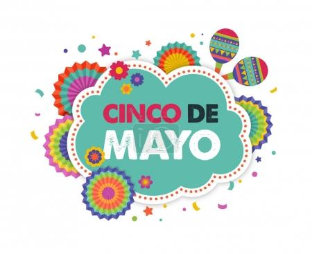 Cinco de mayo, Mexican fiesta banner and poster design with flags, decorations,
