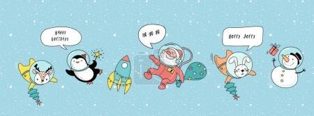 Photo pour Joyeux Noël - Noël cosmique, illustrations d'hiver de l'espace, Père Noël, pingouin, cerf, renard et vaisseau spatial - image libre de droit