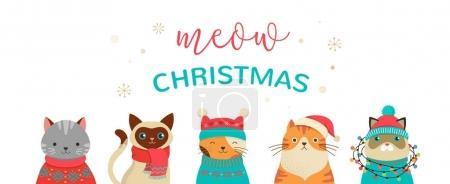 Photo pour Collection de chats de Noël, Joyeux Noël illustrations de chats mignons avec des accessoires comme un bonnet tricoté, chandails, écharpes - image libre de droit