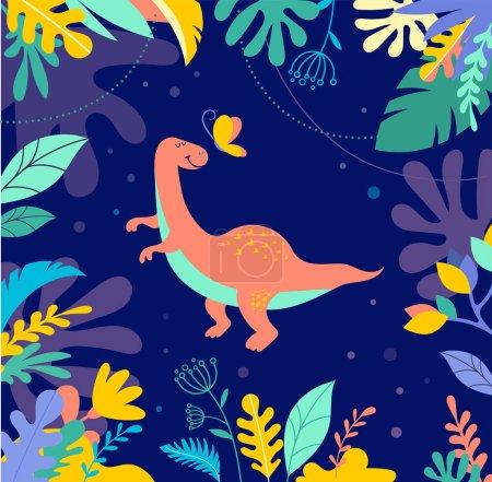 Photo pour Collection de dinosaures, différents types d'animaux préhistoriques, illustration mignonne pour enfants - image libre de droit