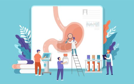 Illustration for Research scientist. Science laboratory, chemistry scientists and clinical lab. Medical research items, clinical science laboratories experiments. Stomach, gastroscopy test - concept vector - Royalty Free Image