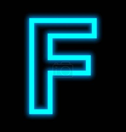 lettre F néons encadrés isolés sur noir