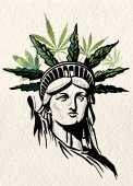 Statue of Liberty marijuana leafs vector image