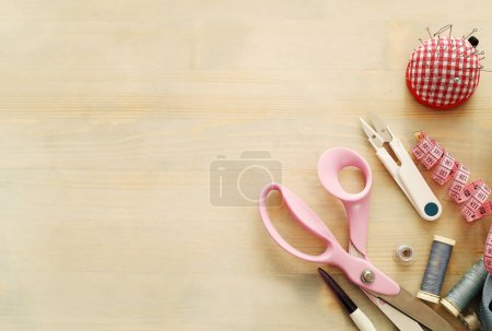 Sewing tools on the table