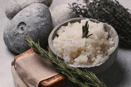 Sea salt and massage stones