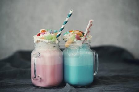 decorated Milkshakes in glasses